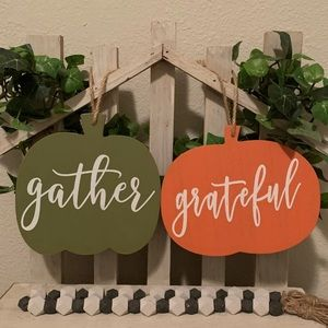 Farmhouse fall harvest wood pumpkin hanging signs